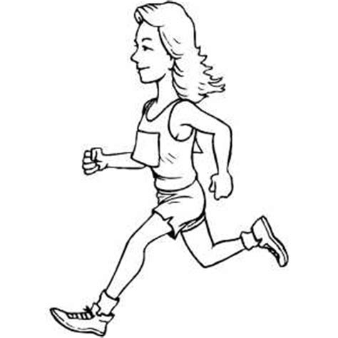 coloring pages of a person running runner girl coloring page