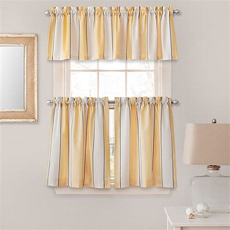 striped kitchen curtains buy lauren stripe window curtain valance in yellow from