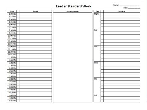 standard work excel template leader standard work template checklist value added flow