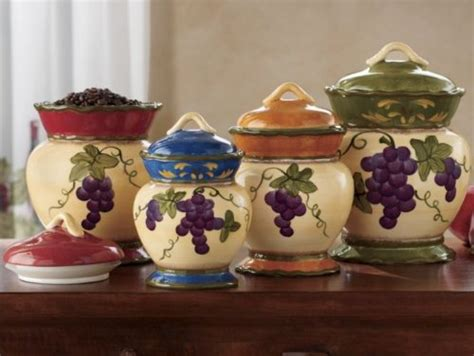 tuscany garden collection grapes painted 4pc canister