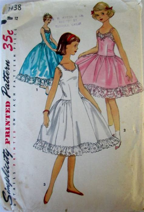 sewing patterns young fashion simplicity 1438 teen 50s girls full slip in two breast