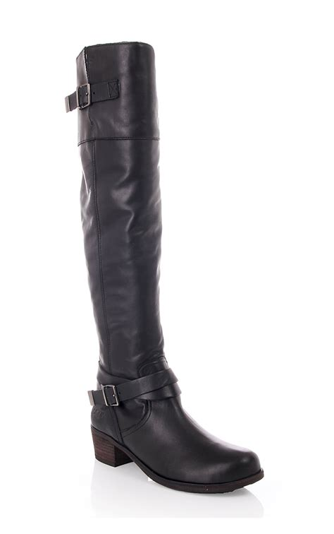 ugg womens ugg bess leather boot with zip black ugg