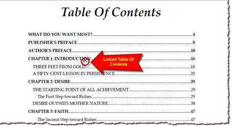 How To Do A Table Of Contents In Word by Free Think And Grow Rich Ebook Pdf Digital