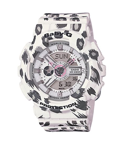 Baby G Leopard g shock baby g ba110lp 7a leopard print white at