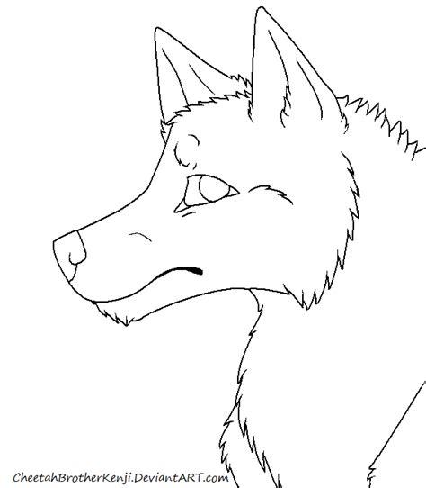 wolf headshot lineart by cheetahbrotherkenji on deviantart