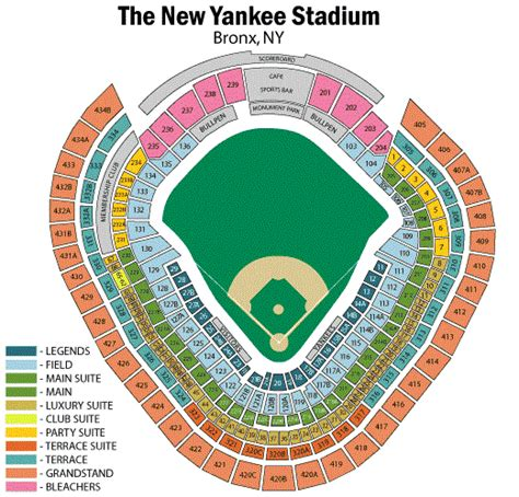 yankees legends seats price yankee stadium seating chart yankee stadium tickets
