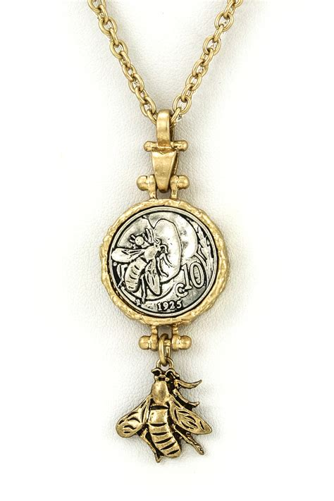 honey bee coin pendant necklace necklaces