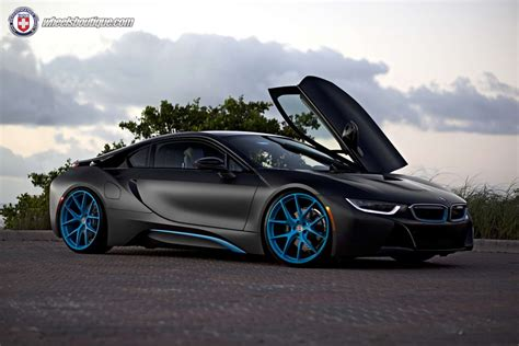 matte bmw i8 this matte black wrapped bmw i8 with blue hre wheels looks