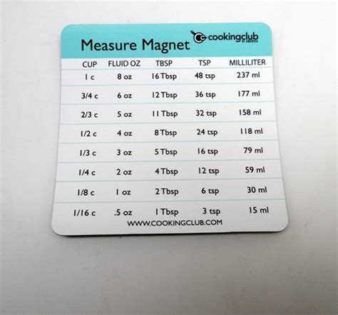 Kitchen Measurement Conversion Magnet 200 Of Cooking Club Measure Conversion Magnet