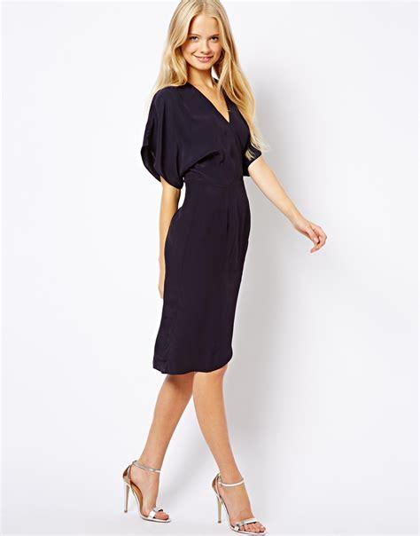 Dress Anak Simple Dress Kimono asos clean midi dress with kimono sleeve in blue lyst