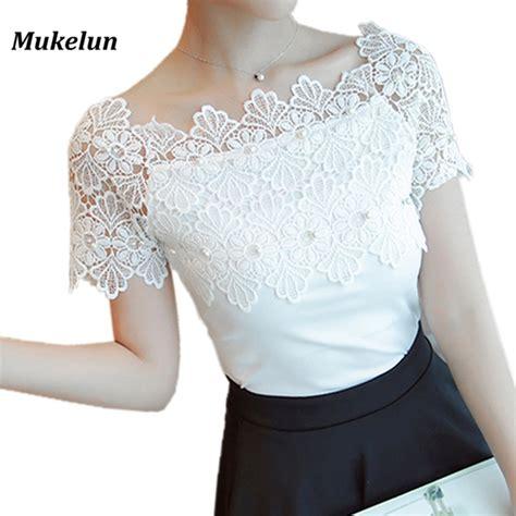 Blouse Kerah Renda Blouse Polos lace patchwork blouse shirt casual shoulder top sleeve white blouse
