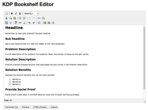 kindle publishing html book description tool updates