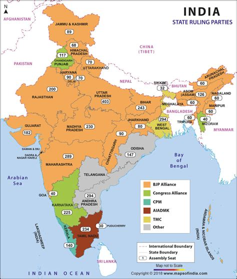 indian currents map political in states of india current ruling