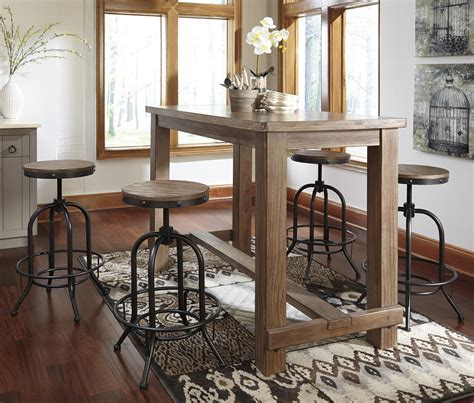 Bar Table Dining 5 Bar Table Set With Industrial Style Adjustable Swivel Stools By Signature Design By