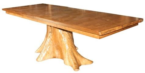 amish rustic pine log tree stump extension dining table