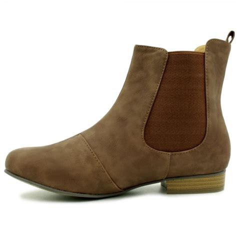 womens leather style chelsea flat ankle boots from