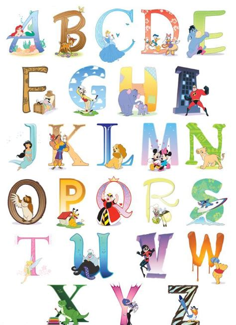 Printable Alphabet Letters For Decoration | disney alphabet chart for the nursery wall decor abc