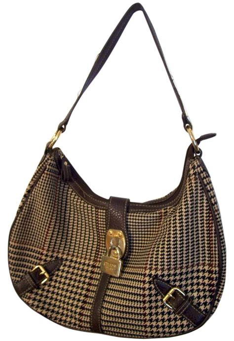 Houndstooth Shoulder Bag chaps brown and houndstooth fabric leather houndstooth