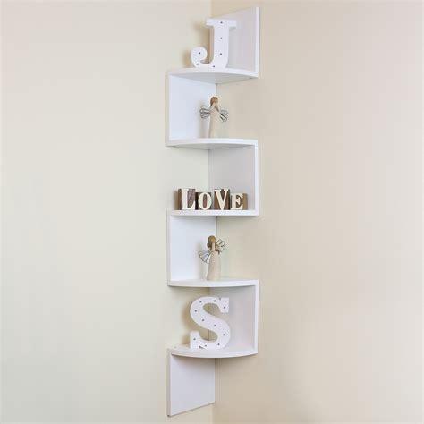5 tier white wall mounted zigzag corner floating shelf