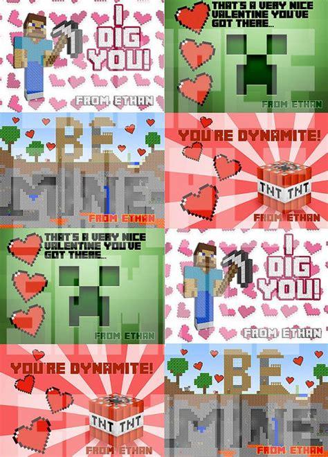valentines day minecraft personalized minecraft valentines cards printable diy