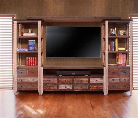 Suburban Furniture Nj by Artisan Home 900 Antique Wall Unit With 2 Piers And Tv