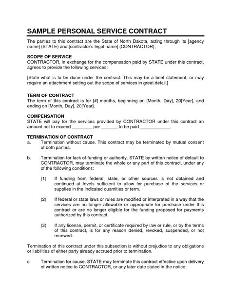 service contract sample personal service contract  proposal templates sample resume
