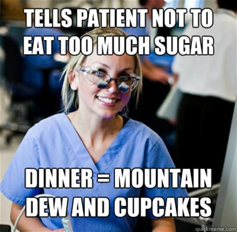 Sugar Meme - tells patient not to eat too much sugar dinner mountain