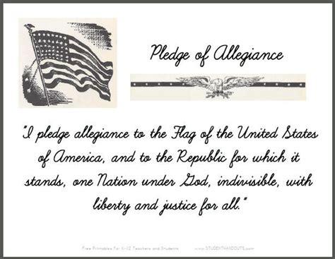 printable lyrics to the pledge of allegiance pledge of allegiance cursive script sign for classrooms