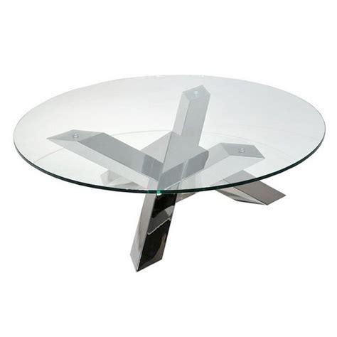 table basse ronde en verre design table basse pied en inox tess ronde transparente