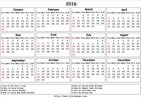 printable yearly calendar 2016 uk 2016 calendar uk yearly calendar printable