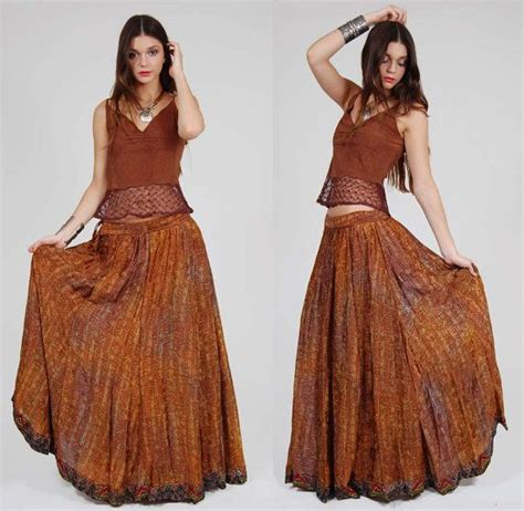 vintage indian silk skirt caramel gold