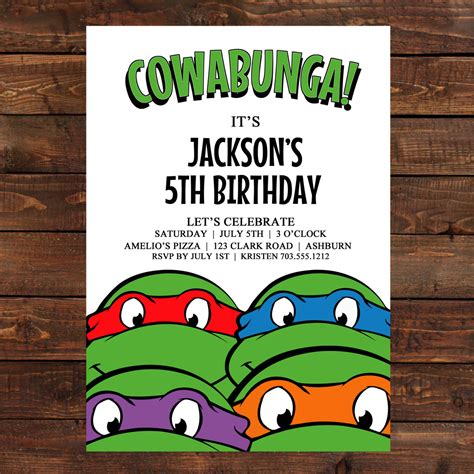 tmnt birthday card template mutant turtles birthday invitations