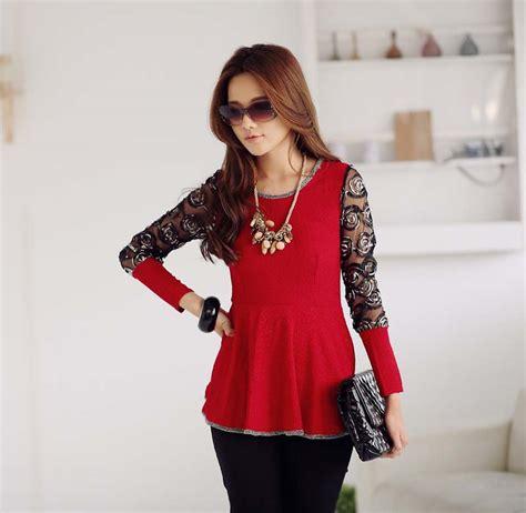 Blouse Atasan Merah Brokat 53830 blouse korea wanita brokat cantik model terbaru jual