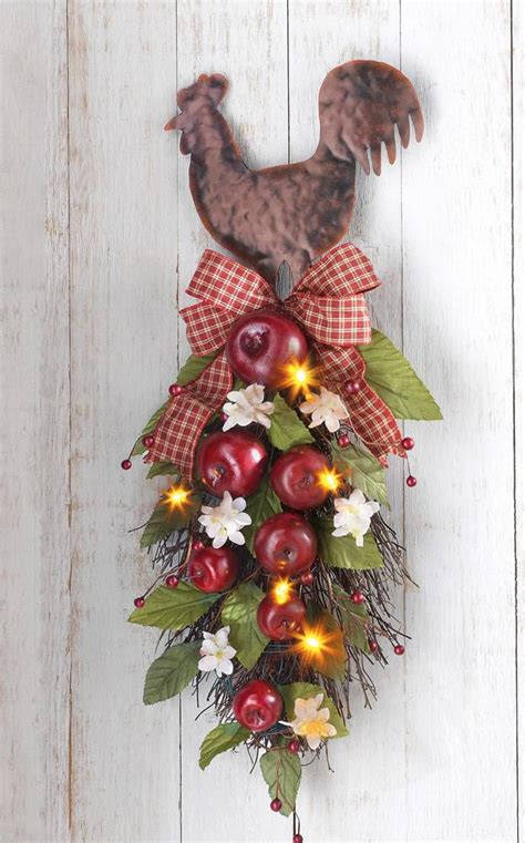Rooster Decor Lighted Country Rooster With Apples Hanging Kitchen Wall