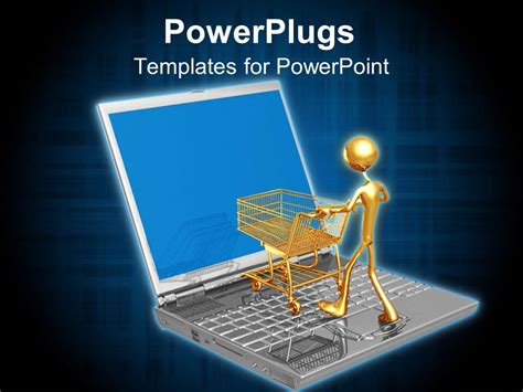 Powerpoint Template Online Shopping E Commerce With Laptop Gold Man Shopping Cart 22526 Ppt Templates For Shopping Free