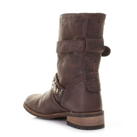 womens brown feud crescent leather biker ankle
