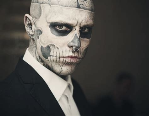 skull face tattoo guy rick genest black and white