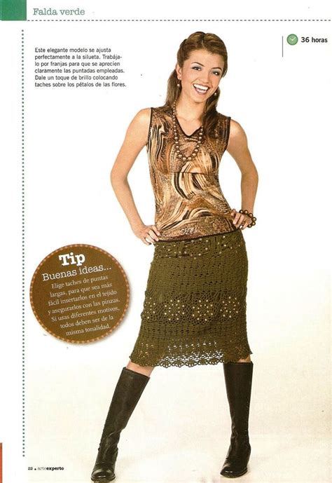 Ac 6344 Black crochet brown skirt lcs mrs with diagram patrones