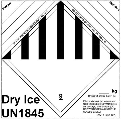 printable dry ice label dry ice shipments in air transport