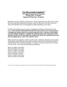 Ap Language And Composition Synthesis Essay Outline by Ap Synthesis Essay Synthesis Essay Prompt Ap Composition Essay Questionsap