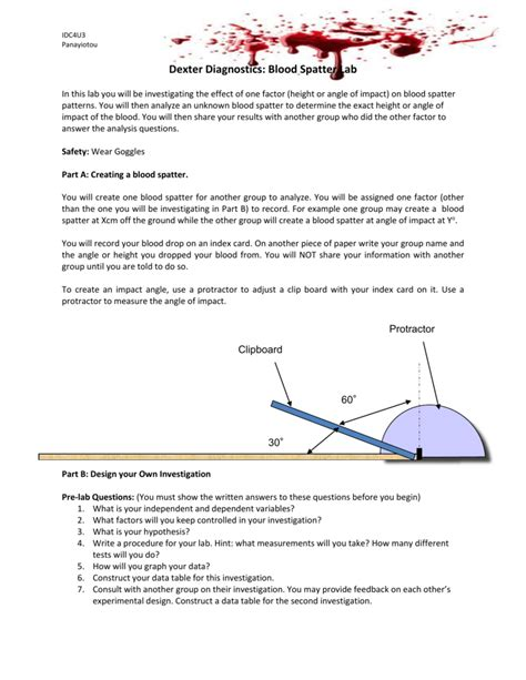 blood spatter analysis lab blood spatter analysis worksheet the best and most