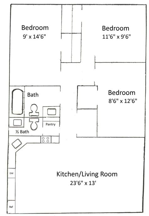 3 bed room floor plan basham rentals 239 s salisbury st 3 bedroom floor plan