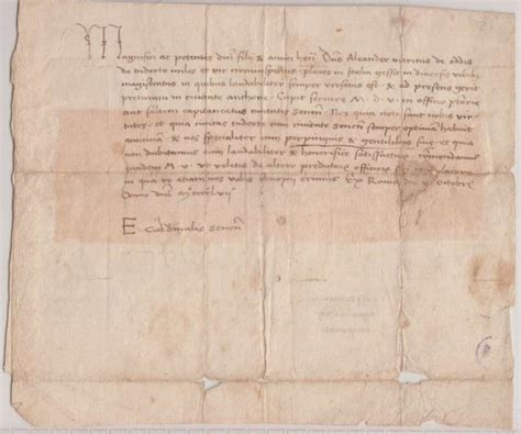 Letter Artifact Pope Pius Ii Letter As Cardinal Eaneas Sylvius