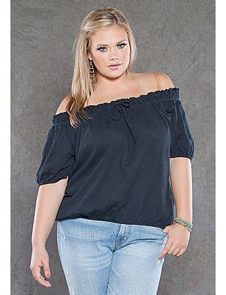Basic Hoodie Abos trade in your basic plus size for the this peasant style top and kick the fashion up with