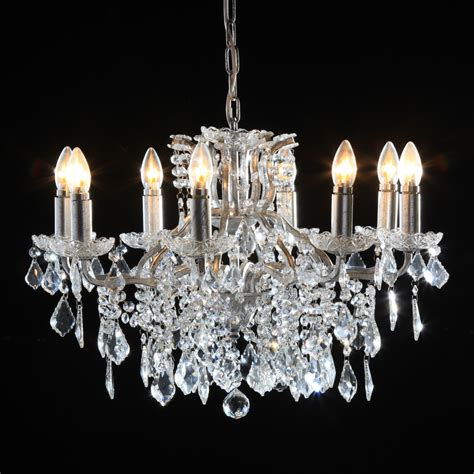 Branched Chandelier 8 Branch Silver Leaf Shallow Chandelier Nicholas Interiors