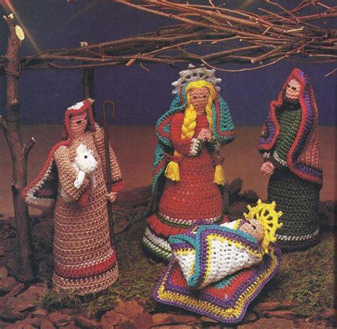 patterns for christmas nativity folk art nativity creche crochet pattern rare htf