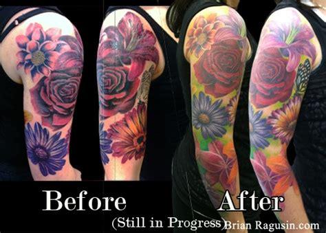 flower tattoo rework realistic flowers reworked tattoo by brian ragusin