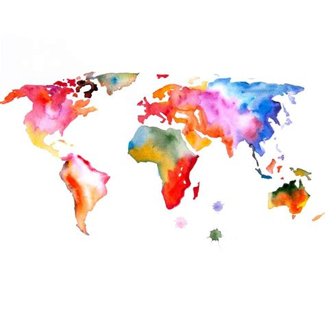 water color map map of the world print 16x23 original watercolor