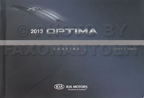 2013 Kia Optima Manual 2013 Kia Optima Owners Manual Original