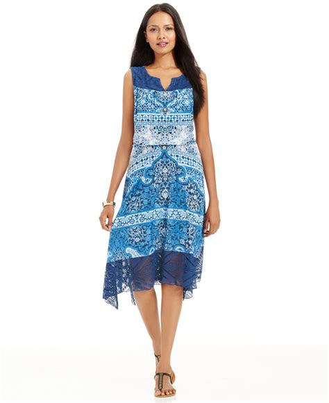 Style Co Dress lyst style co floral print lace midi dress in blue